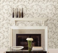 Shimmer Scroll Wallpaper - Traditional - Living Room ...