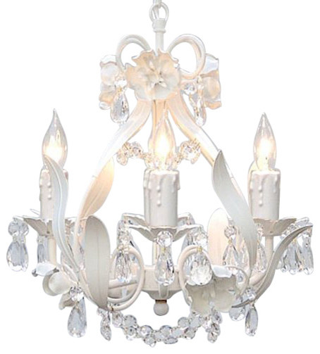 Wrought Iron 4 Light 1 Tier Crystal Mini Chandelier Traditional Chandeliers