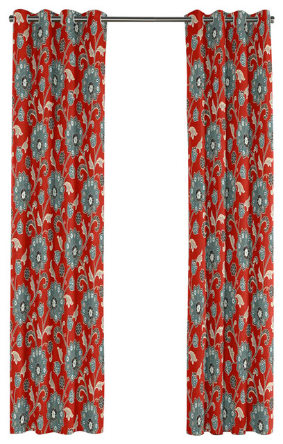 Modern Aqua And Red Floral Grommet Curtain Contemporary Curtains By Loom Decor