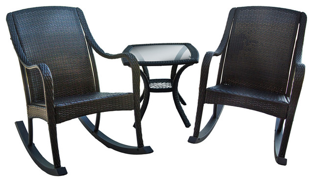 woven rocking chair canvas folding chairs asda orleans 3 piece patio set 2 and one side table