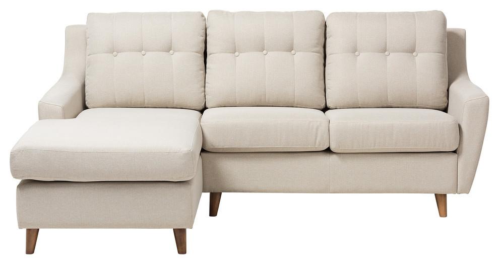 mckenzie light beige fabric button tufted 2 piece sectional sofa