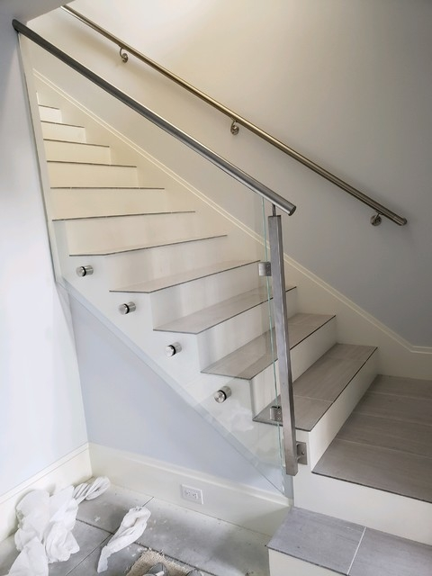 Starphire Tempered Glass With Top Mounted Steel Handrail   Tempered Glass Stair Railing   Hand Rail   Glass Design   Toughened Glass   Staircase   Round Staircase