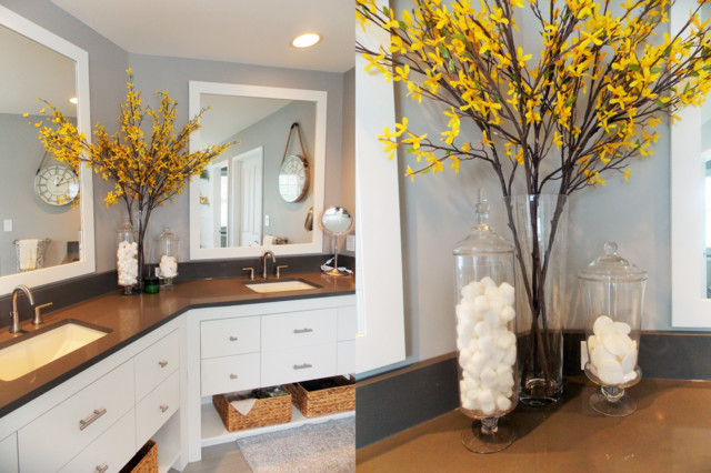 Gray + Yellow Modern Master Bathroom L Fishers, IN