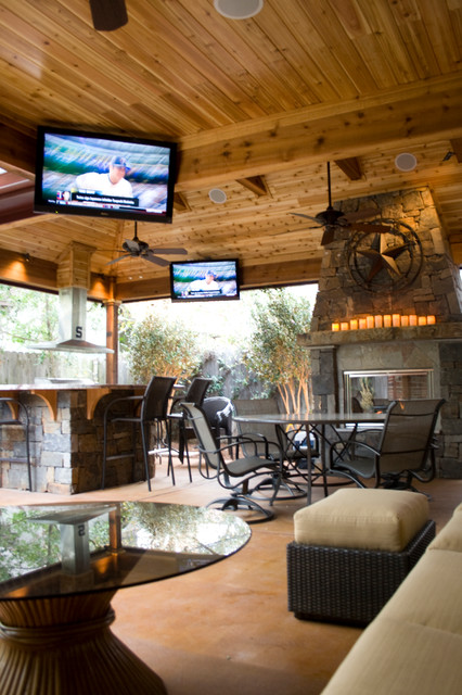Fireplace Houston Outdoor Living Spaces - Rustic - Patio - Houston - By Wood