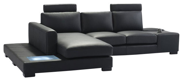 t35 mini modern white leather sectional sofa 8 foot long - black with light ...