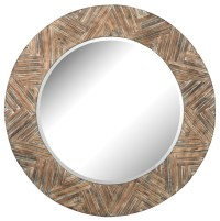 ELK Group Large Round Wood Mirror - Rustic - Wall Mirrors ...