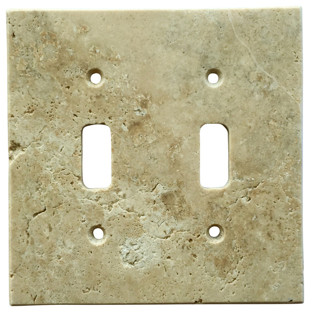light walnut travertine switch plate cover double toggle 4 5 x5 5