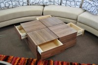 CONTEMPORARY WALNUT VENEER SQUARE COFFEE TABLE WITH ...