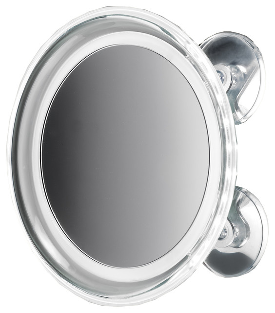 8 Round Suction Cup 5x Cosmetic Magnifying LED Light Mirror Chrome  Contemporary  Makeup