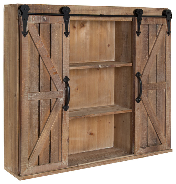 Laurel Cates Rustic Wall Cabinet With Sliding Barn Doors