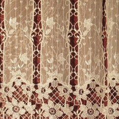Burgundy Kitchen Curtains Diy Bench With Storage Macrame Ring Lace - Traditional San Diego ...