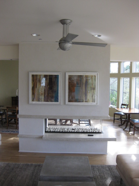 living room built in decorating ideas paint colour for open three sided gas fireplace with floating hearth ...