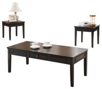 3-Piece Black Finish Wood Coffee Table and 2 End Tables ...