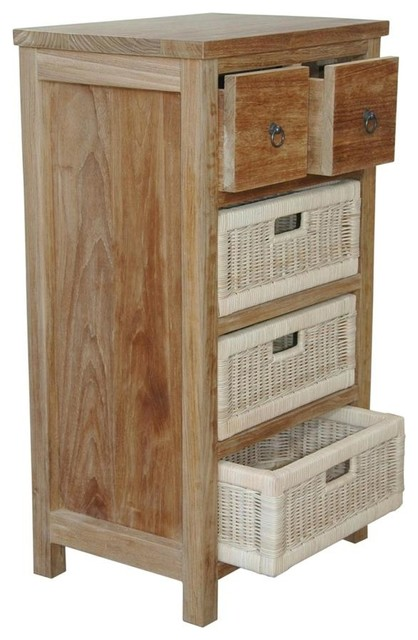 Safari Occasional Chest w 2 Drawers  3 Rattan Baskets  Contemporary  Accent Chests And
