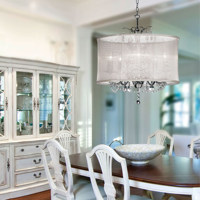 Organza Silk Drum Shade Crystal Chandelier Traditional Dining Room