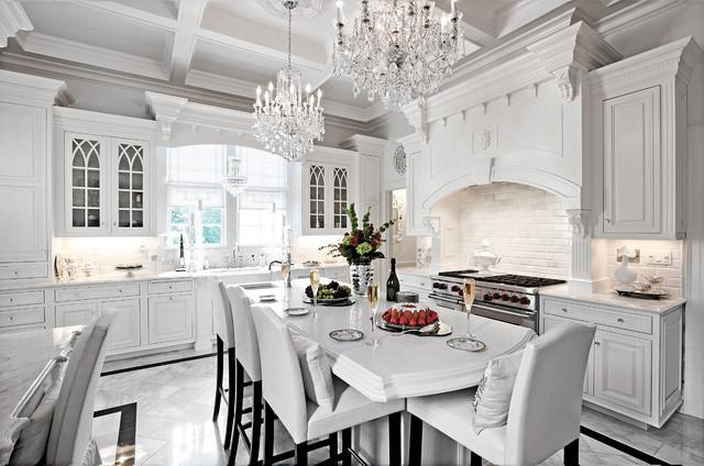 Breathtaking White on White Traditional Kitchen