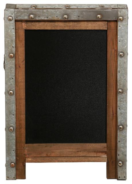 wood chalkboard with metal
