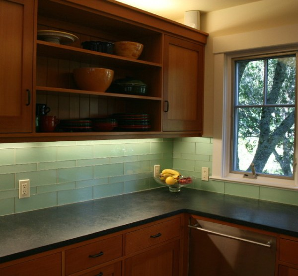 green glass tile kitchen backsplash Green Glass Kitchen Backsplash - Mill Valley - Modern - Kitchen - San Francisco - by Marin