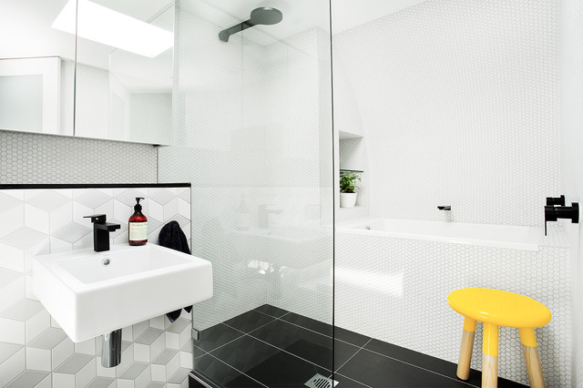 mix and match tiles in the bathroom