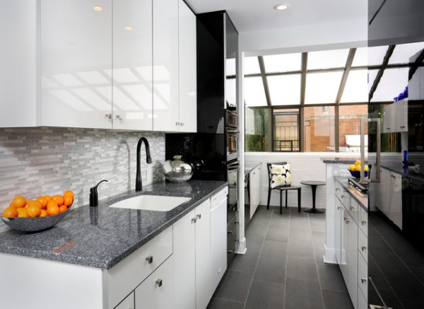 white galley kitchen designs Modern Galley Kitchen Design - Contemporary - Kitchen