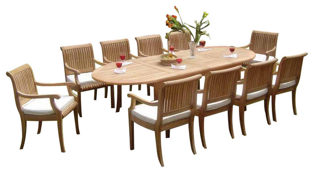 "9-Piece Outdoor Teak Dining Set, 117"" Extension Oval Table"
