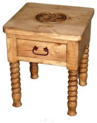 Spindle Leg End Table With Star Detail - Southwestern ...