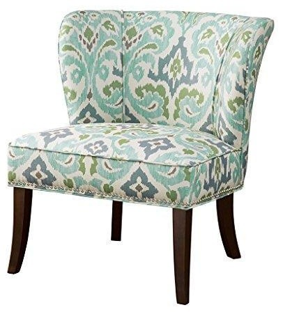 floral print accent chairs portable chair umbrella green blue ikat abstract upholstered armless mediterranean armchairs and by modhaus living
