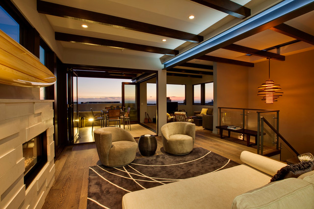 decorating a living room with fireplace and tv lights manhattan beach high-tech architectural oceanview - ...