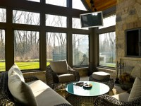 French Country - screened patio room with fireplace ...