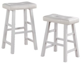 Faux Leather Saddle Seat Stools, Set of 2, White
