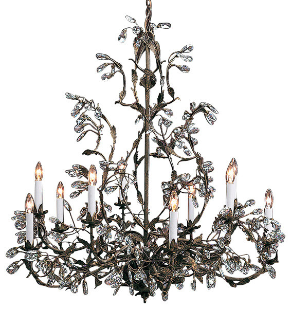 Wrought Iron Chandelier With Swarovski Crystal Traditional Chandeliers