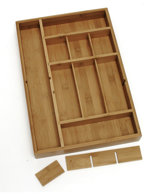 lipper international bamboo kitchen drawer dividers storage cabinets ikea organizer with 3-removable - contemporary ...