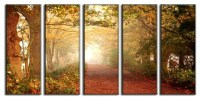 Framed Huge Canvas Print 5 Panel Forest Pathway Leaves ...