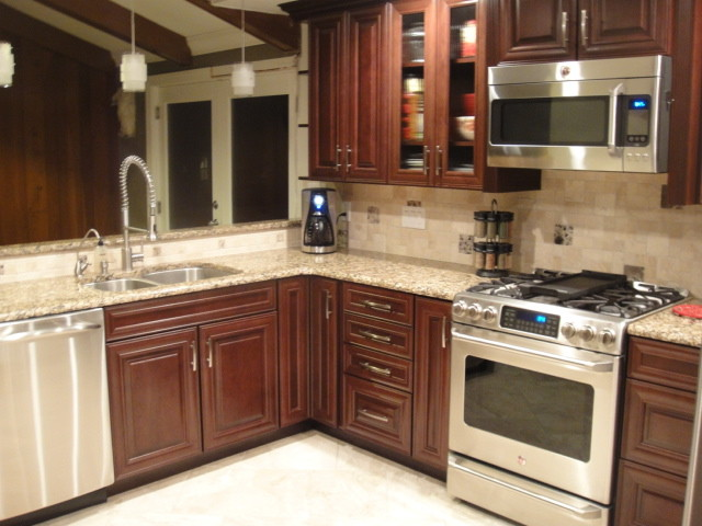 baltimore kitchen remodeling high gloss cabinets shenandoah mckinley cherry bordeaux - traditional ...