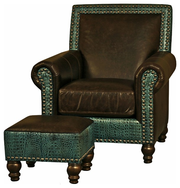 Western Brown  Turquoise Leather Nailhead Arm Chair