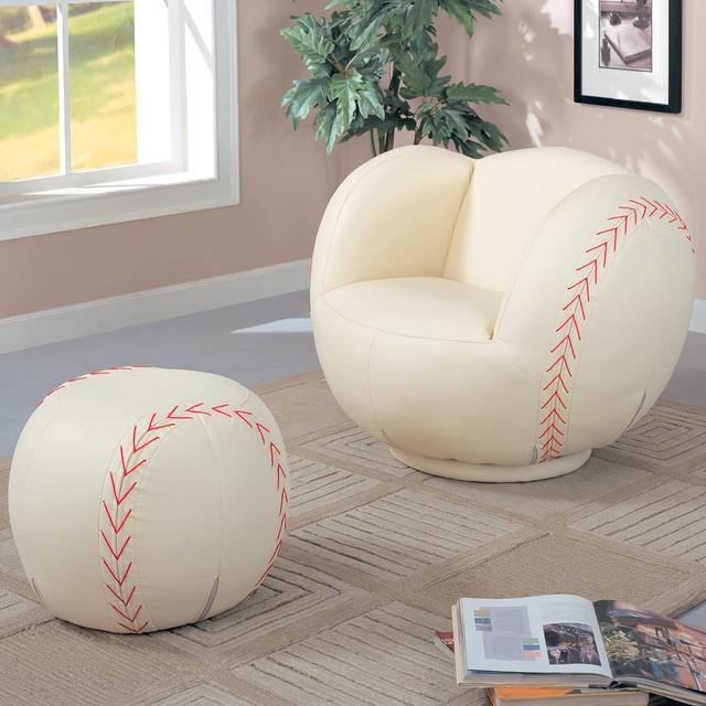 Kids Sports Chairs Large Kids Baseball Chair and Ottoman