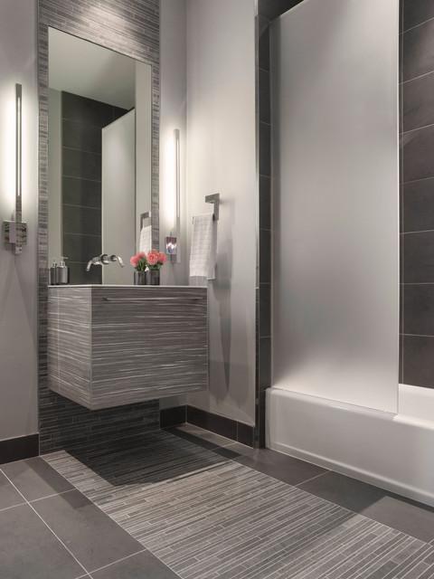 Modern Gray Mosaic Tile Bathroom - Contemporary - Bathroom ...