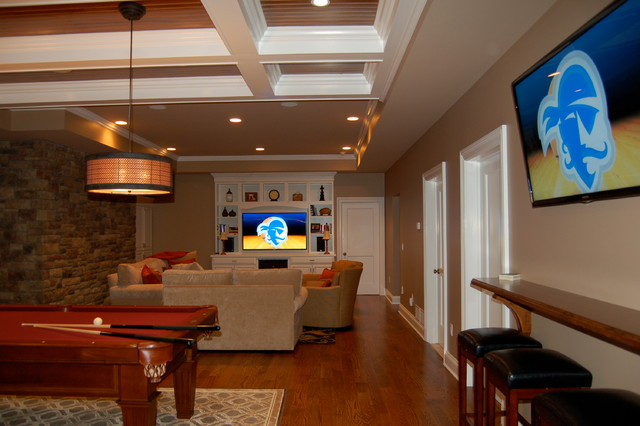 After all, the area will be used for playing games. Basement Media/Game Room - Chatham, NJ - Traditional ...