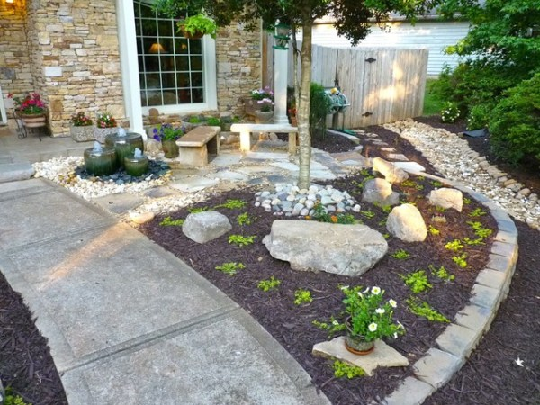 front yard water feature outdoor