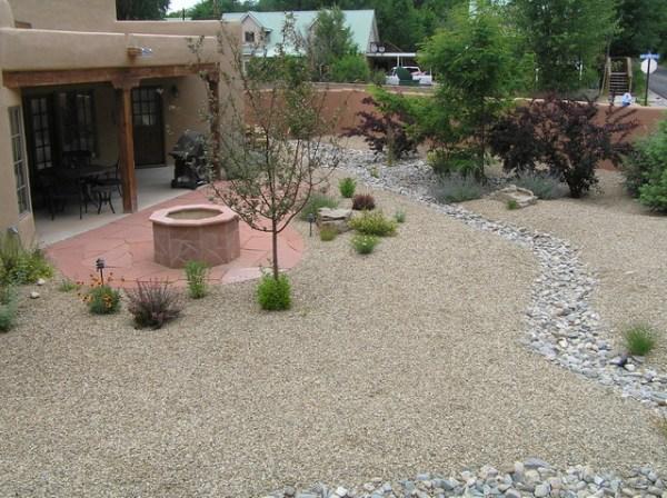 xeriscape backyard with flagstone