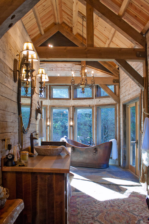 Reclaimed and Rustic Materials Make A Cabin Cozy