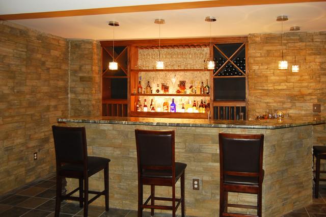 Wet Bar  Traditional  Basement  New York  by Homann Design  Construction LLC