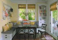 built-in kitchen seating, bookcase with dog bowl station ...