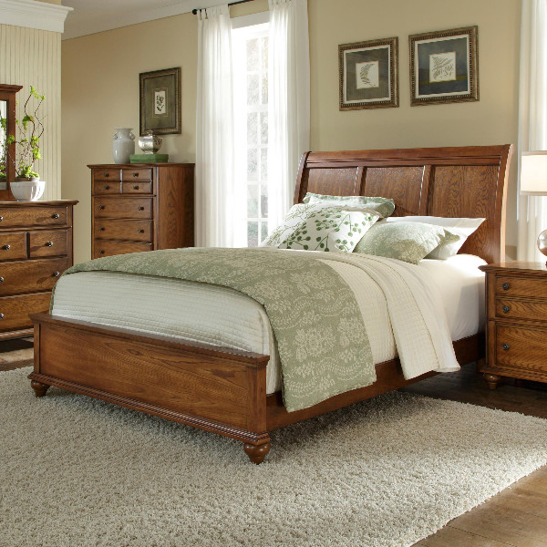 oak sleigh bedroom sets Broyhill Furniture - Hayden Place Eastern King Sleigh Bed in Golden Oak - 4645-2 - Traditional