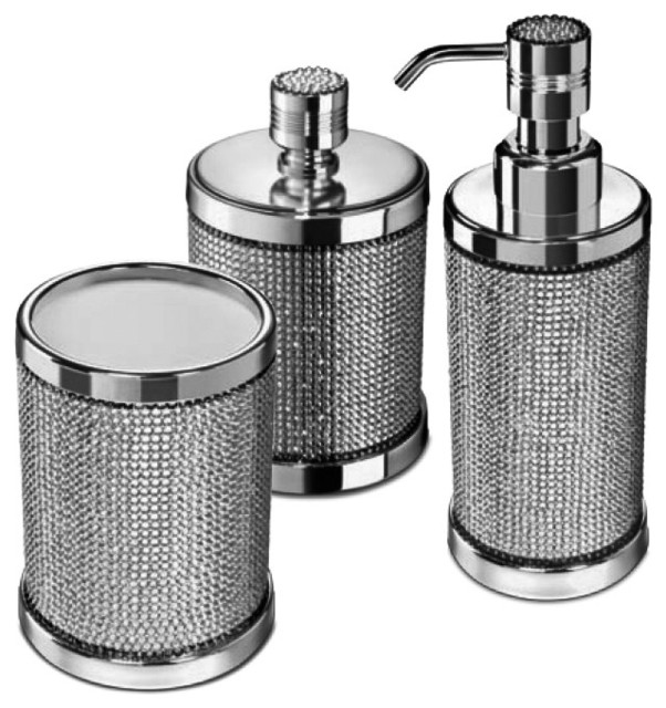 Starlight Bathroom Accessories Set With Swarovski 3 Piece Contemporary Bathroom Accessory Sets By Agm Home Store