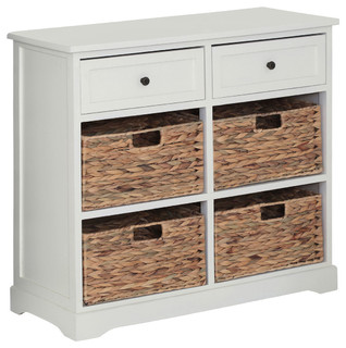 Vermont Cabinet, White, 2 Drawers and 4 Baskets