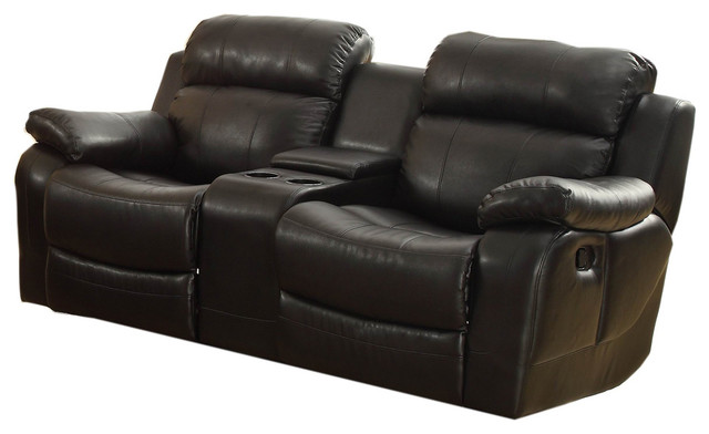 double recliner chairs buy dining chair covers australia homelegance marille glider reclining loveseat with center console loveseats by beyond stores