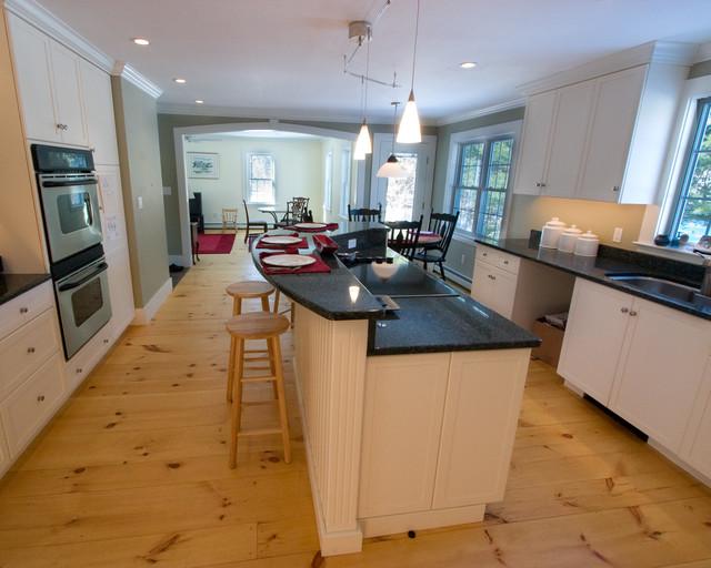 knotty pine kitchen cabinets copper backsplash colonial farmhouse remodel