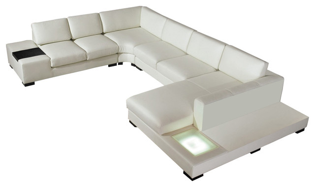 white bonded leather sectional sofa set with light slipcover t cushion 3 piece divani casa t35 modern contemporary sofas by miami furniture