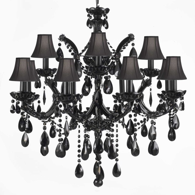 The Gallery Jet Black Crystal Chandelier With Shades Chandeliers